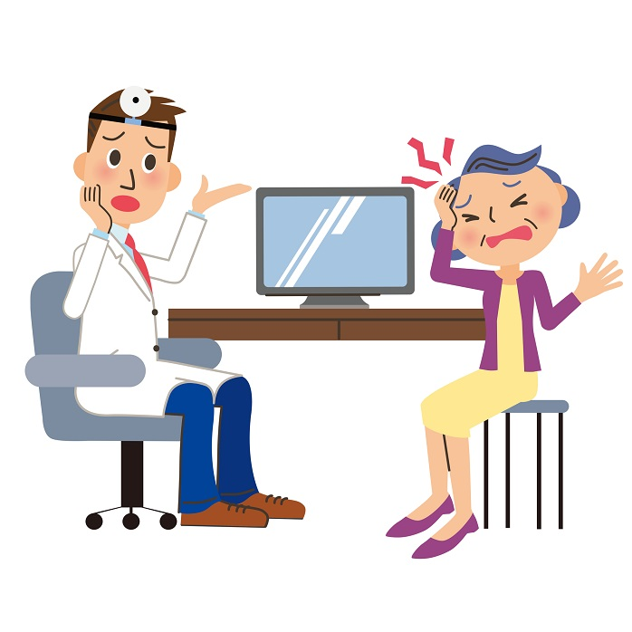 頭痛のため医者の診療を受けている女性のイラスト