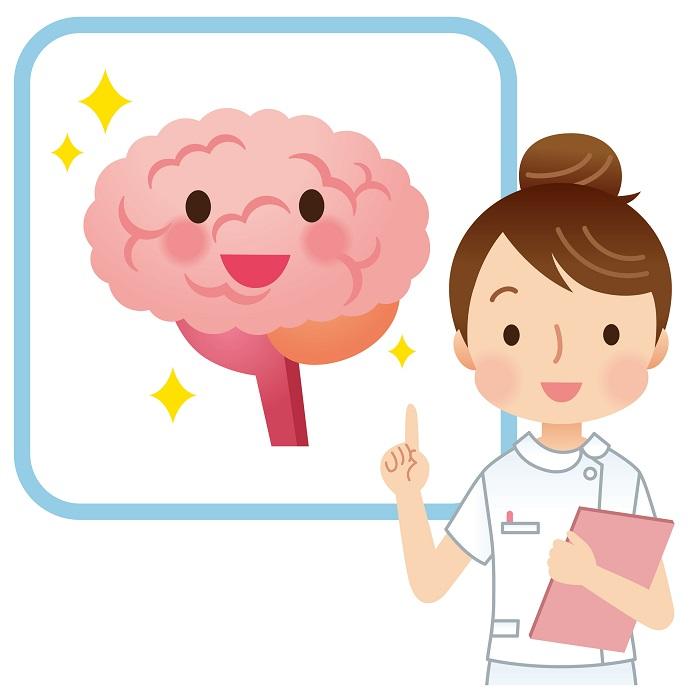 脳の病気について説明する看護師