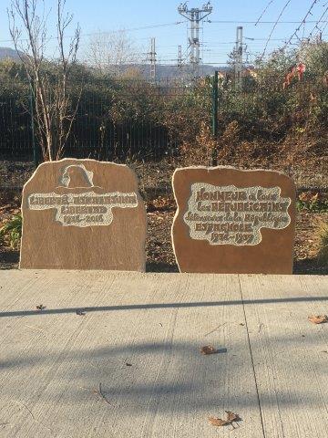 【27】フランス側国境の歩道にある記念碑 1936-1939とスペイン戦争を指している