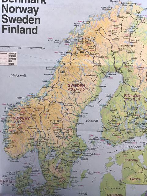北欧4か国の地図(地球の歩き方 北欧編より掲載)
