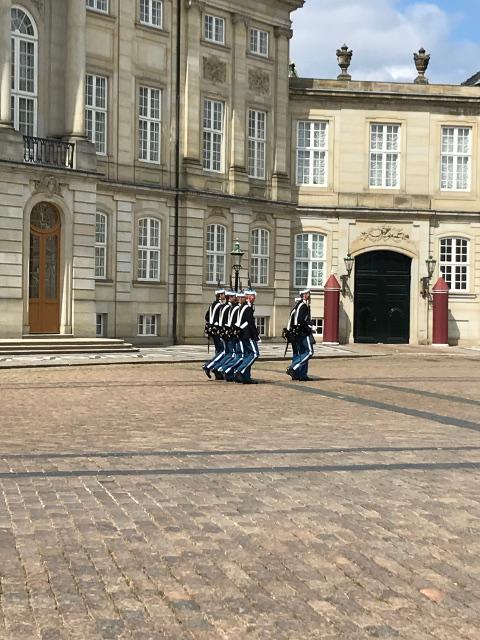 現在のアメリエンボー宮殿の衛兵の姿