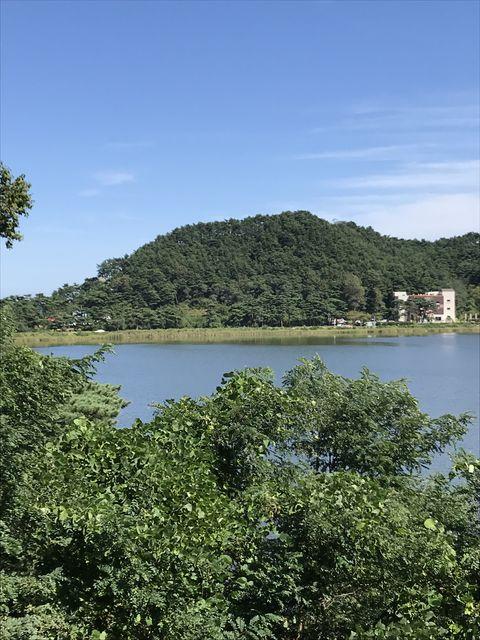 李承晩の別荘から見た金日成の別荘がある山。本当にご近所だった。