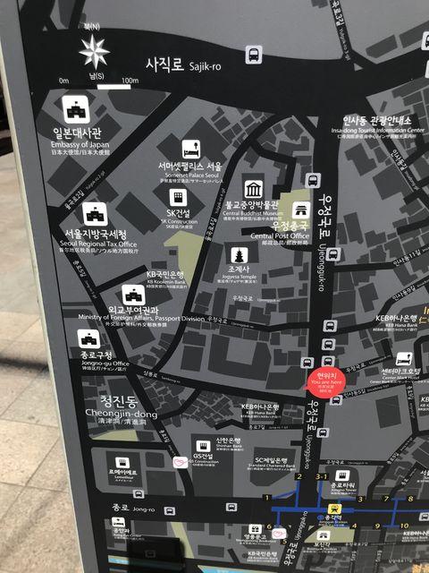 鐘閣駅から日本大使館への地図。日本大使館は左上